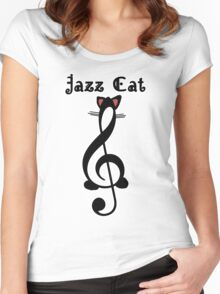 The Jazz Cat (w/text) Women's Fitted Scoop T-Shirt