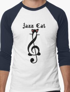 The Jazz Cat (w/text) Men's Baseball ¾ T-Shirt