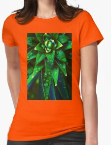 Morning Dew On Plant Womens Fitted T-Shirt