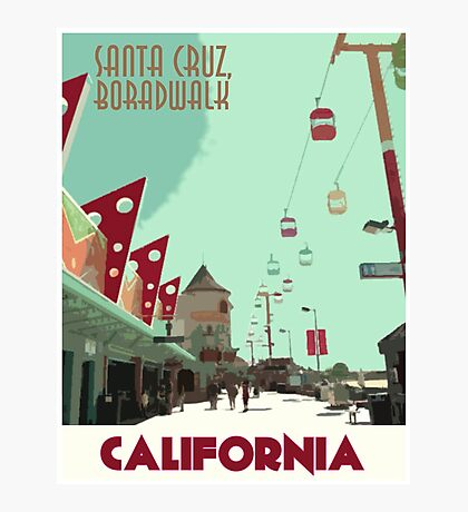Vintage Travel Poster Santa Cruz Photographic Print
