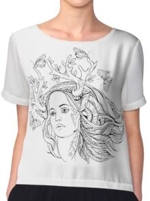 portrait of a woman with animal horns and butterflies. black and white Chiffon Top
