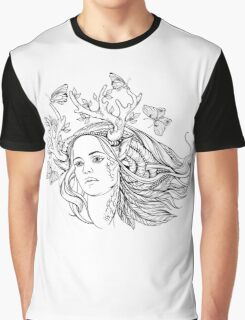 portrait of a woman with animal horns and butterflies. black and white Graphic T-Shirt