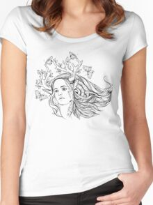 portrait of a woman with animal horns and butterflies. black and white Women's Fitted Scoop T-Shirt