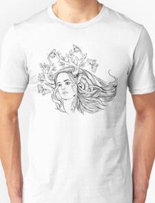 portrait of a woman with animal horns and butterflies. black and white T-Shirt