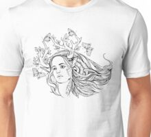 portrait of a woman with animal horns and butterflies. black and white Unisex T-Shirt
