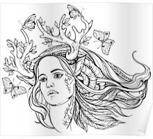portrait of a woman with animal horns and butterflies. black and white Poster