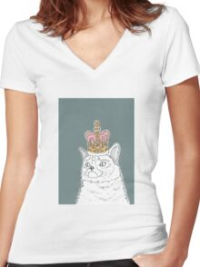 Grumpy Cat In A Crown Women's Fitted V-Neck T-Shirt