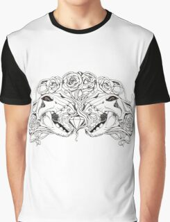 image of two simmetric skulls with roses and diamond Graphic T-Shirt
