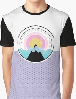 Birds Flying Over the Mountain Sunset - Alternate Layout  Graphic T-Shirt