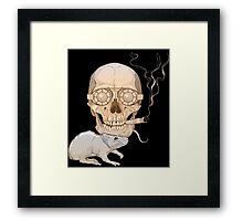 a skull with fuming cigar and a rat Framed Print