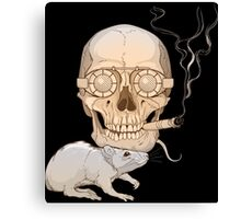 a skull with fuming cigar and a rat Canvas Print