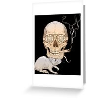 a skull with fuming cigar and a rat Greeting Card