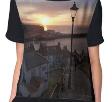 Whitby at sunset from the Abbey steps Chiffon Top