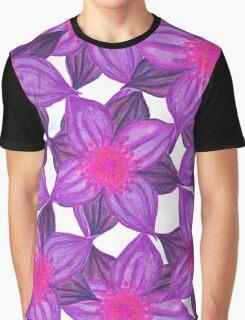 Pretty Lavender Purple Watercolor Flowers Pattern Graphic T-Shirt