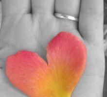 Petal Heart Held in Hand Sticker