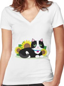 Tuxedo Cat Women's Fitted V-Neck T-Shirt