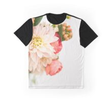 Pink Flowers on White Background Graphic T-Shirt