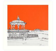 Brighton Bandstand & Pier ( Orange ) Art Print
