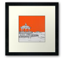 Brighton Bandstand & Pier ( Orange ) Framed Print