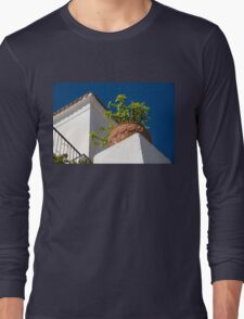 Contemplating Mediterranean Vacations - Red Tile Roofs and Terracotta Flowerpots Long Sleeve T-Shirt