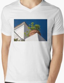 Contemplating Mediterranean Vacations - Red Tile Roofs and Terracotta Flowerpots Mens V-Neck T-Shirt