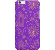 London Seamless Pattern with London Eye, Phone Box and Travel Elements.  iPhone Case/Skin
