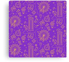 London Seamless Pattern with London Eye, Phone Box and Travel Elements.  Canvas Print