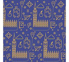 London Seamless Pattern with Big Ben, Parliament Building and Travel Elements.  Photographic Print