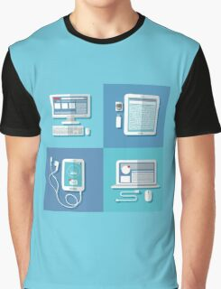 Modern Technologies: Laptop, Computer, Smart Phone, Tablet and Accessories.  Graphic T-Shirt