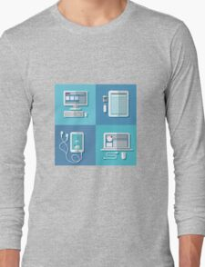 Modern Technologies: Laptop, Computer, Smart Phone, Tablet and Accessories.  Long Sleeve T-Shirt