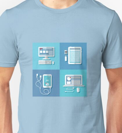Modern Technologies: Laptop, Computer, Smart Phone, Tablet and Accessories.  Unisex T-Shirt