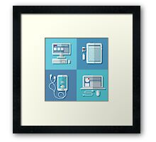 Modern Technologies: Laptop, Computer, Smart Phone, Tablet and Accessories.  Framed Print