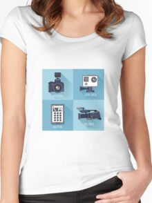 Modern Technologies. Professional Photo and Video Camera, Extreme Camera and Smart Phone.  Women's Fitted Scoop T-Shirt