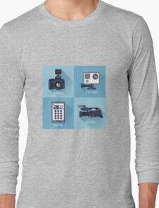 Modern Technologies. Professional Photo and Video Camera, Extreme Camera and Smart Phone.  Long Sleeve T-Shirt