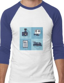 Modern Technologies. Professional Photo and Video Camera, Extreme Camera and Smart Phone.  Men's Baseball ¾ T-Shirt