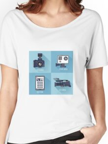 Modern Technologies. Professional Photo and Video Camera, Extreme Camera and Smart Phone.  Women's Relaxed Fit T-Shirt