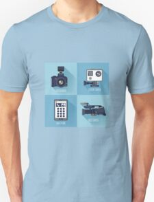 Modern Technologies. Professional Photo and Video Camera, Extreme Camera and Smart Phone.  Unisex T-Shirt