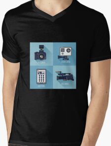 Modern Technologies. Professional Photo and Video Camera, Extreme Camera and Smart Phone.  Mens V-Neck T-Shirt