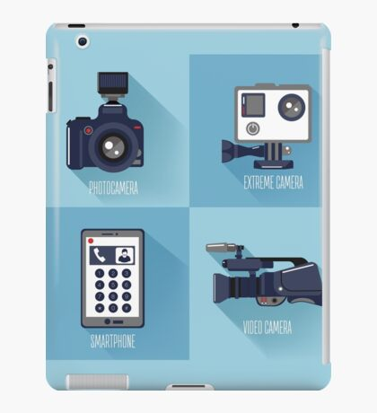 Modern Technologies. Professional Photo and Video Camera, Extreme Camera and Smart Phone.  iPad Case/Skin