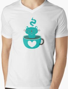 Cat in a Cup Mens V-Neck T-Shirt