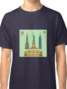 Set of New York Famous Buildings: Statue of Liberty, Metropolitan Museum of Art, Empire State Building, Chrysler Building Classic T-Shirt