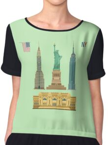 Set of New York Famous Buildings: Statue of Liberty, Metropolitan Museum of Art, Empire State Building, Chrysler Building Chiffon Top