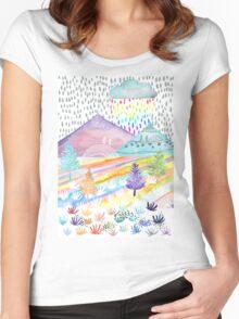 Watercolour Landscape Women's Fitted Scoop T-Shirt