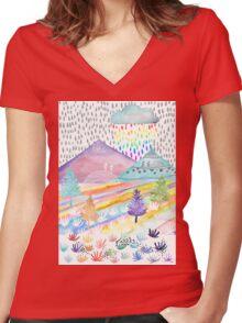 Watercolour Landscape Women's Fitted V-Neck T-Shirt