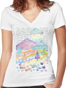 Watercolour Landscape Women's Fitted V-Neck T-Shirt
