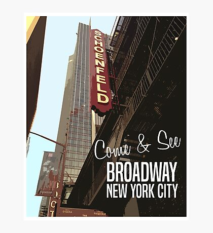 Broadway New York Vintage Poster Photographic Print