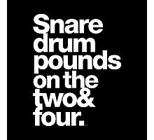 Prince - Snare Drums Pound on the Two & Four Photographic Print