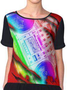 Colorful Retro Boombox Within Design Chiffon Top
