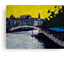 Hapenny Bridge & Boardwalk, Dublin Canvas Print