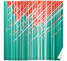 Teal and Red Dynamic Lines Poster